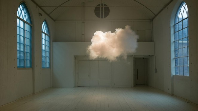 Nimbus II, (2012) by Berndnaut Smilde. Cloud created using a smoke machine, combined with indoor moisture and dramatic lighting to create an indoor cloud effect. (www.berndnaut.nl)
